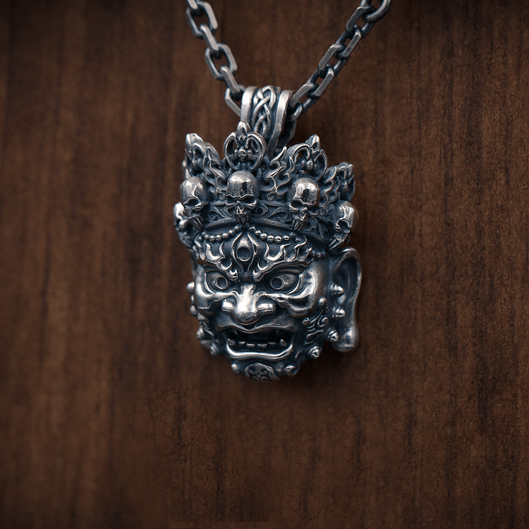 Mahākāla God of Fortune Silver Pendant - Holy Buyble