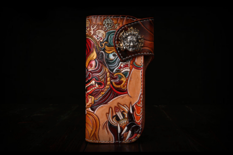 Premium Leather Mahākāla God of Fortune Hand Painted Wallet - Holy Buyble