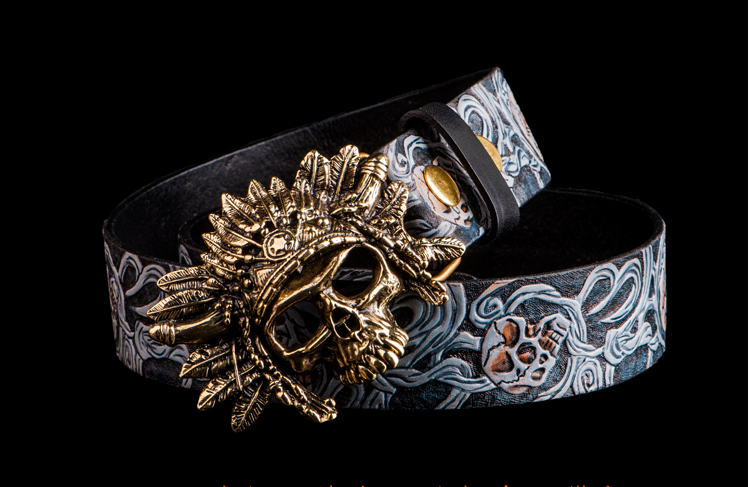 Hand Painted Sugar Skull Leather Belt - Holy Buyble