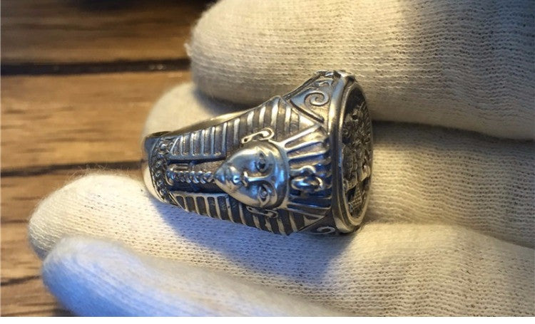Egyptian Anubis & Pharaohs Silver Ring - Holy Buyble