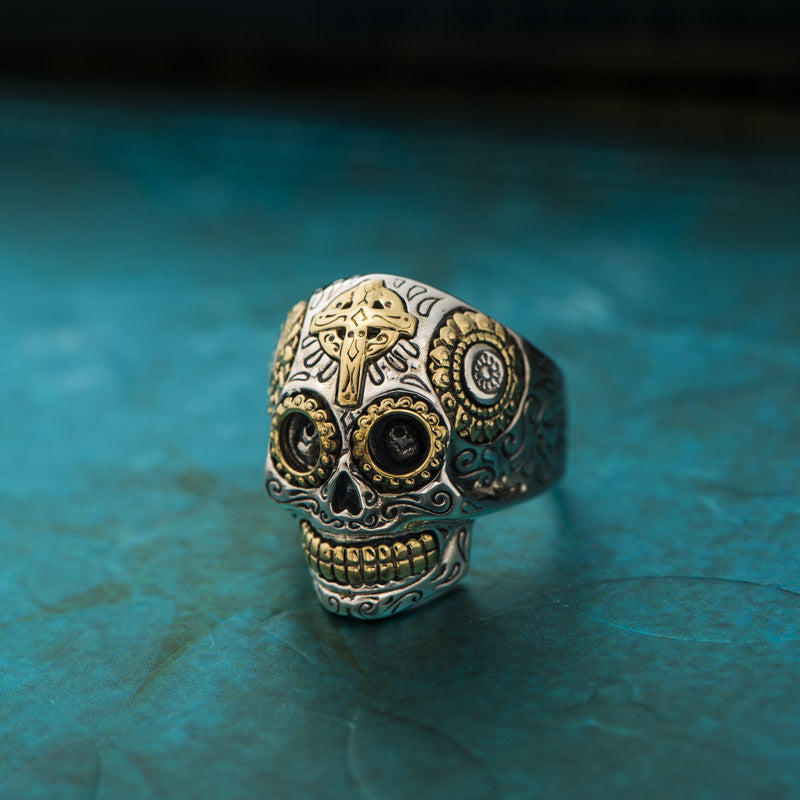 Mexican Sugar Skull Biker Ring - Holy Buyble