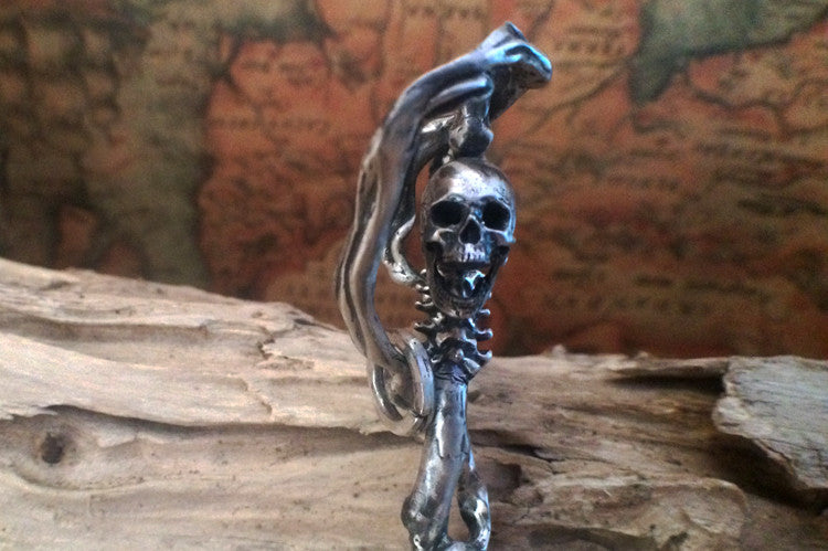 Handcrafted Death God Dragon Sickle Silver Pendant