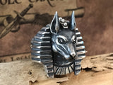 Handcrafted Egyptian God Anubis Silver Ring