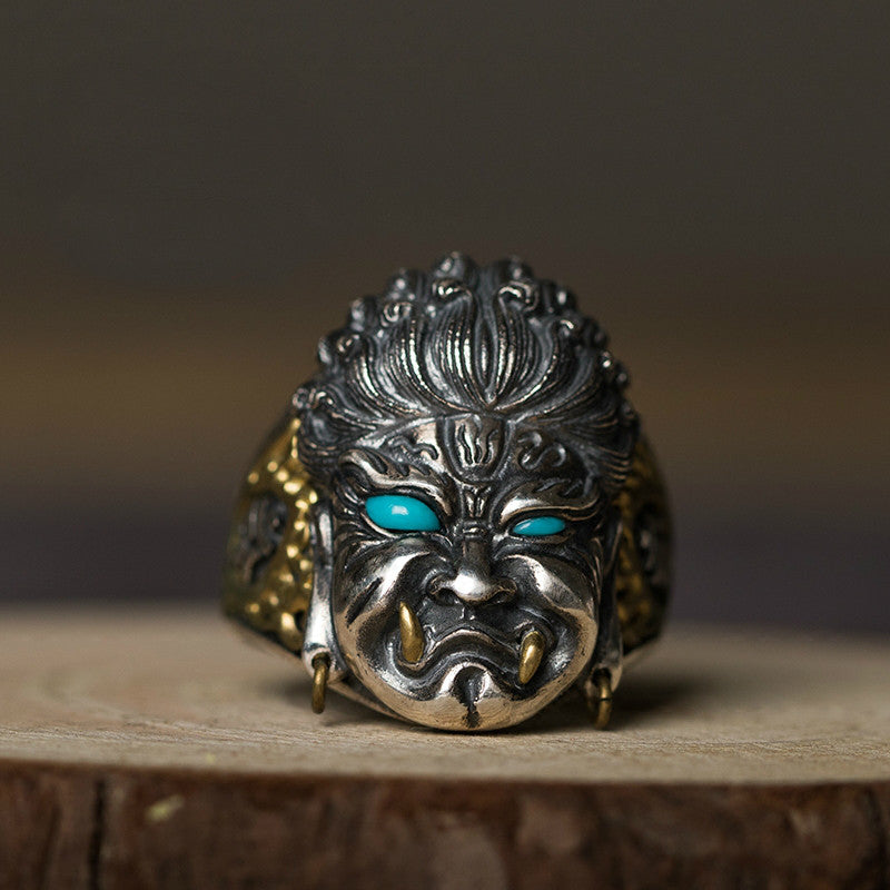 Handcrafted Immovable Protector Acalanatha Silver Ring