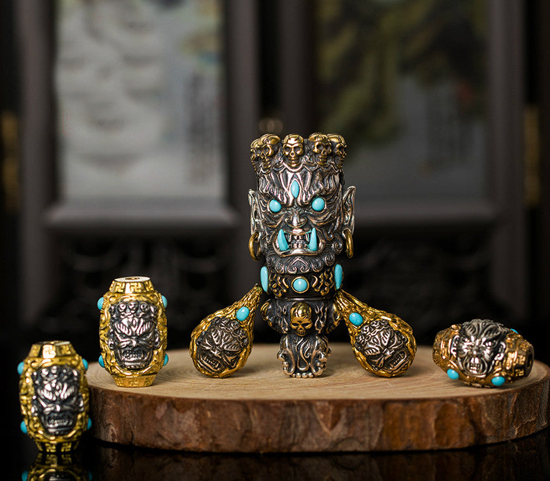 Mahākāla God of Fortune Silver Pendant Set - Holy Buyble