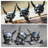 Japanese Demon Oni Silver Earring - Holy Buyble