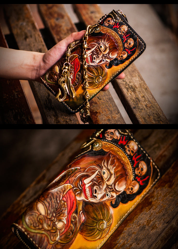 Premium Leather Mahākāla God Painted Wallet - Holy Buyble