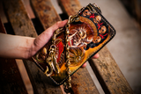 Handcrafted Premium Leather Mahākāla God Painted Wallet - Holy Buyble