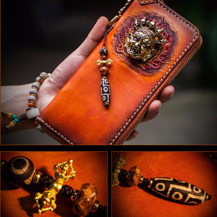 Handcrafted Premium Leather Mahākāla God of Fortune Wallet - Holy Buyble