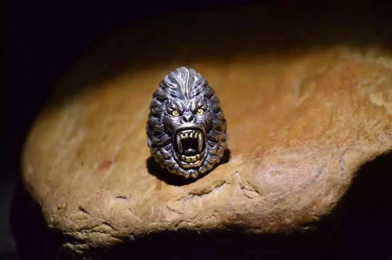 Handcrafted Silver Raging Ape Ring - Holy Buyble