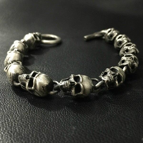 Handcrafted Silver Skull Chain Bracelet - Holy Buyble