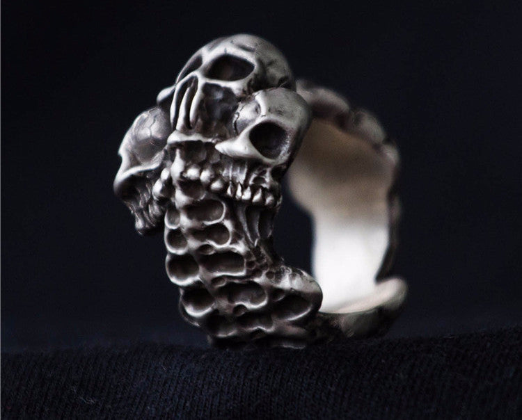 Made to Order Skeleton Triple Skull Ring - Holy Buyble