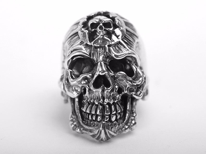 King Devil Skull Silver Ring - Holy Buyble