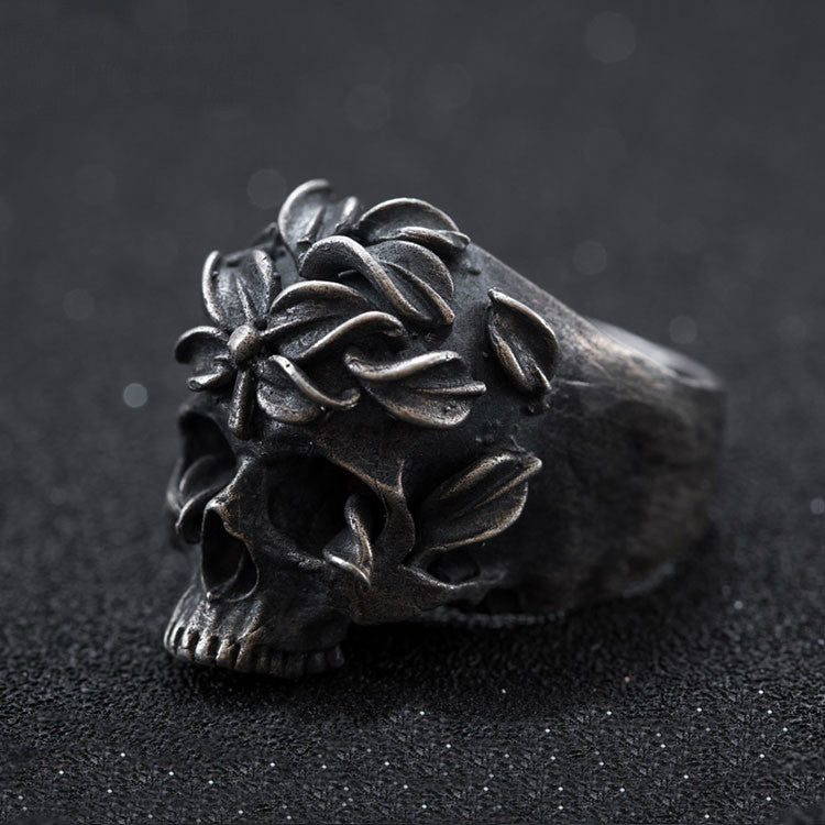 Floral Skull Ring - Holy Buyble