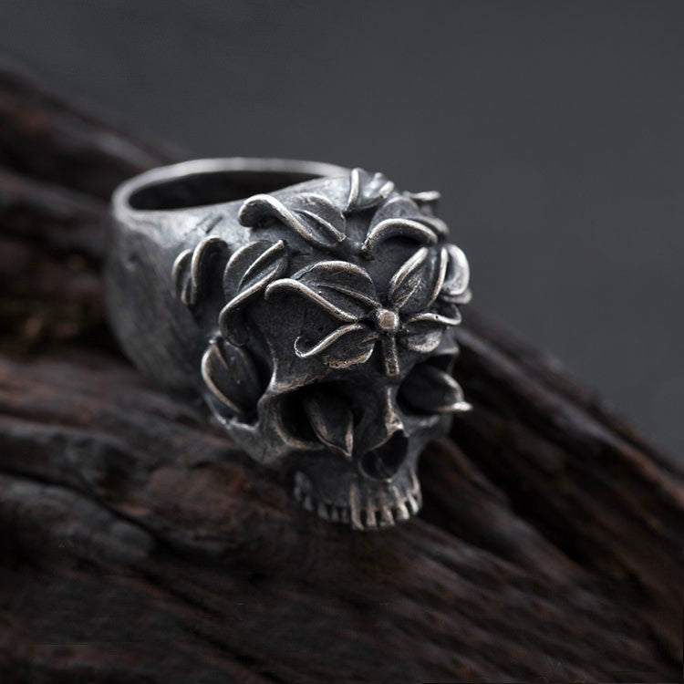 Handcrafted Skull Flowers Silver Ring - Holy Buyble
