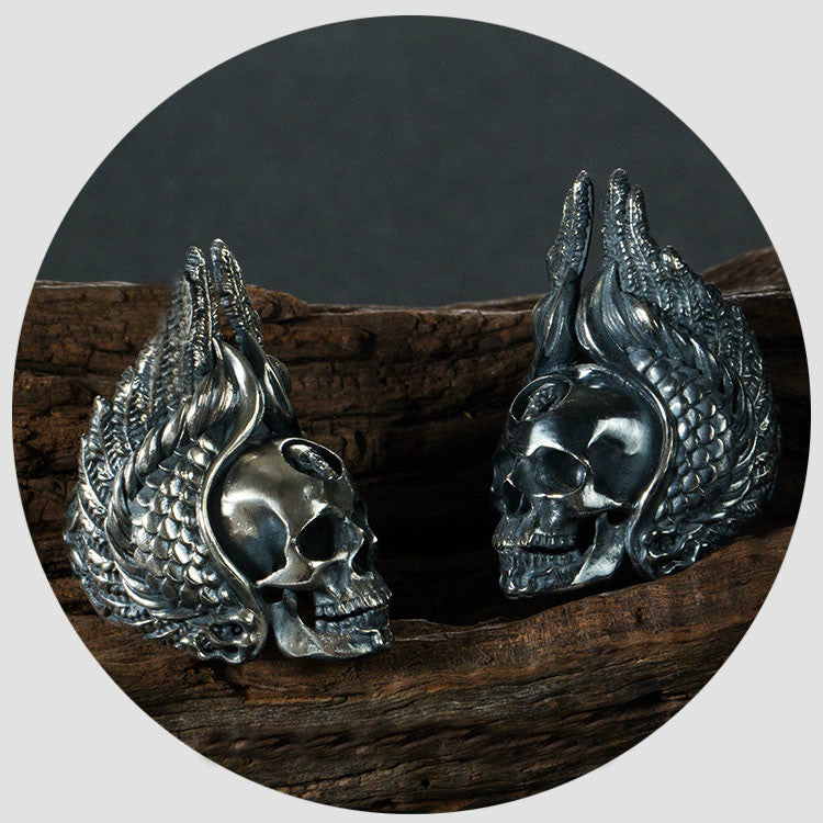 Handcrafted Winged Native American Skull Silver Ring - Holy Buyble