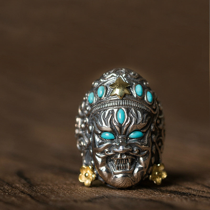 Handcrafted Yellow Jambhala God of Fortune Silver Ring - Holy Buyble