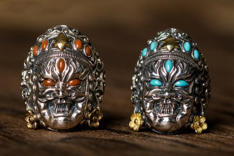 Blue Topaz Cyclops Skull Silver Ring