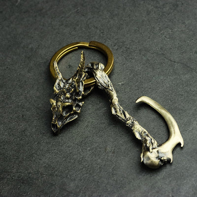 Horned Dragon Skeleton Pendant Key Ring