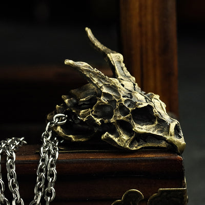 Horned Dragon Skeleton Pendant Necklace