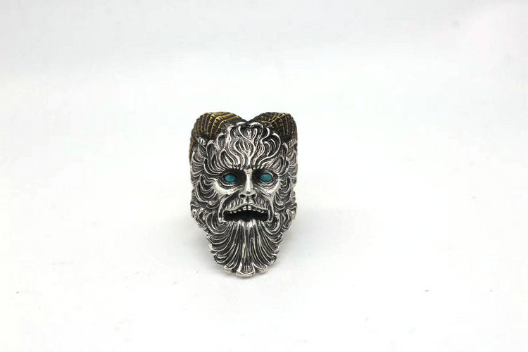 Blue Turquoise Horned Pan Faun Ring - Holy Buyble
