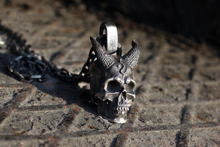 Silver Horned Demon Skull Pendant - Holy Buyble