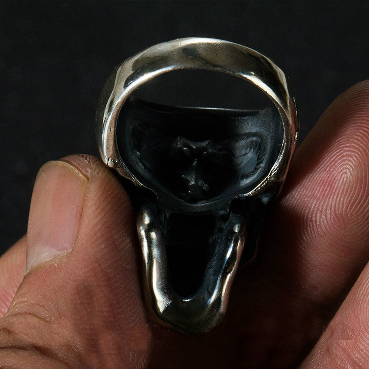 Silver Horned Demon Skull Ring - Holy Buyble