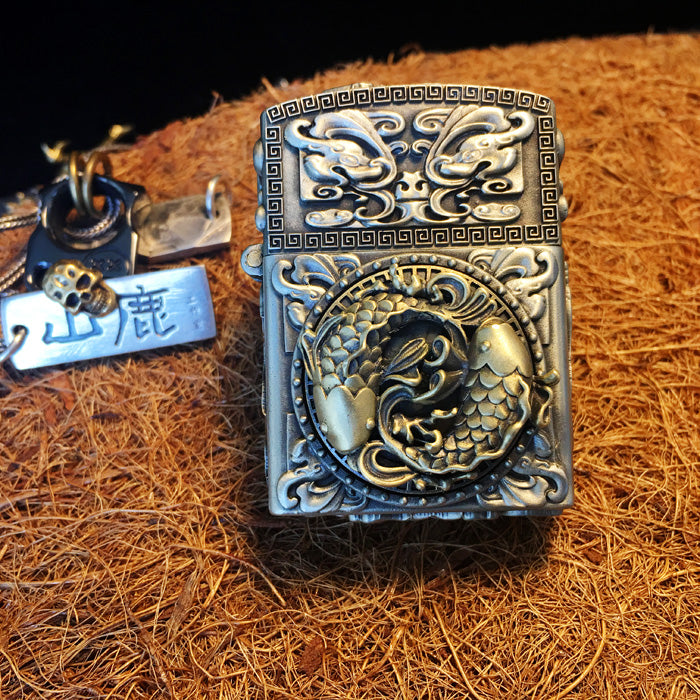 Spinning Wheel Yin Yang Koi Fish Zippo Lighter Case - Holy Buyble