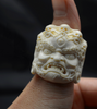 Mahākāla God of Fortune Mammoth Ivory Fossil Ring - Holy Buyble