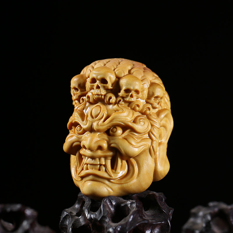 Mahākāla God of Fortune Yellow Box Wood Pendant - Holy Buyble