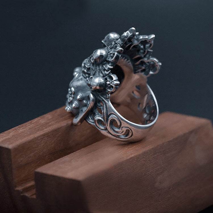Mahākāla God of Fortune Silver Ring - Holy Buyble