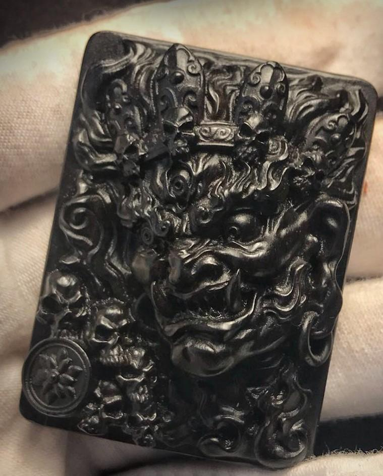 Mahākāla God of Fortune Wooden Pendant - Holy Buyble