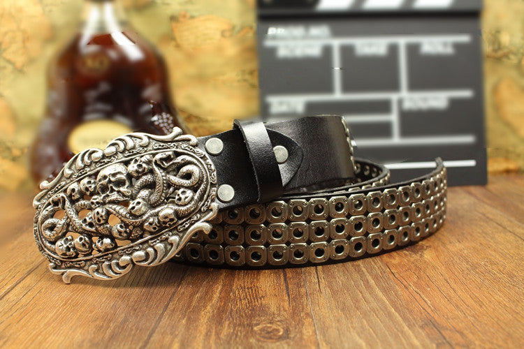 Metal Skull Leather Belt - Holy Buyble