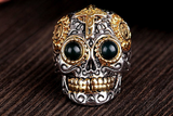 Mexican Sugar Skull Biker Ring with Blue Amber Eyes - Holy Buyble