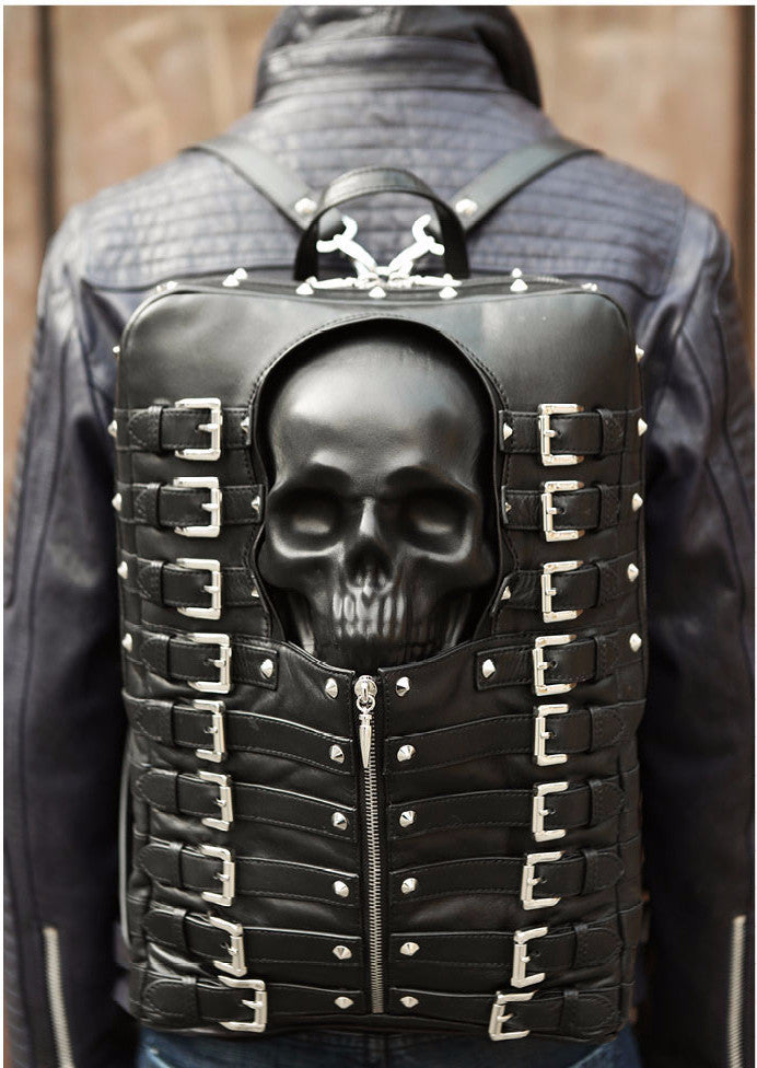 bright in luster top-rated fashion hot-selling cheap Mummy Skull Leather Buckled Biker Backpack