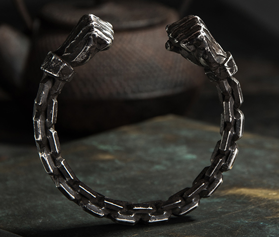 Power Fist Muscle Chunky Chain Bracelet
