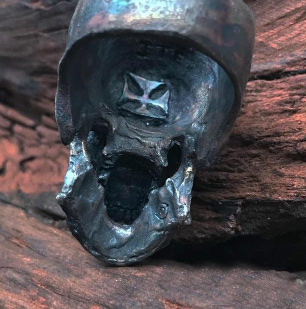 Oxidated Black Realistic Skull Ring - Holy Buyble