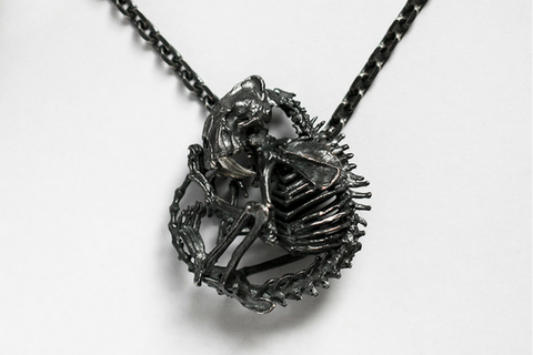 Winged Dragon Skull Cross Pendant