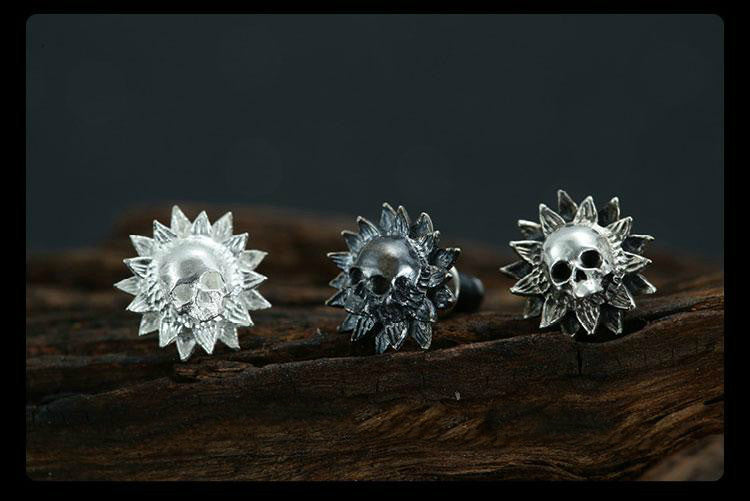 Silver Sunflower Skull Earring - Holy Buyble