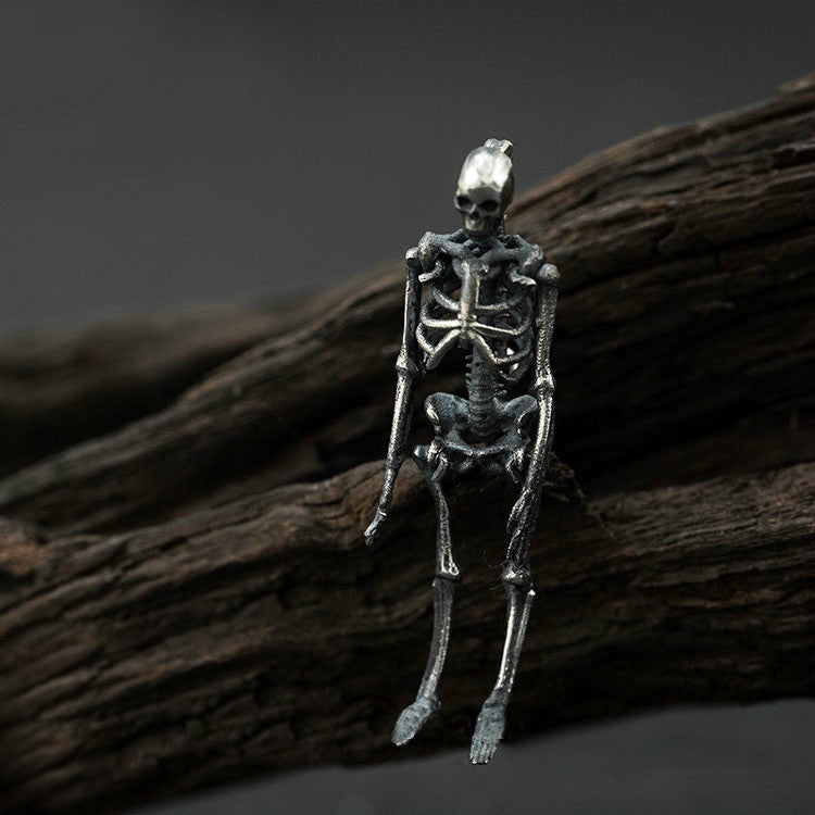 Silver Skeleton Brooch in Antique Finish - Holy Buyble