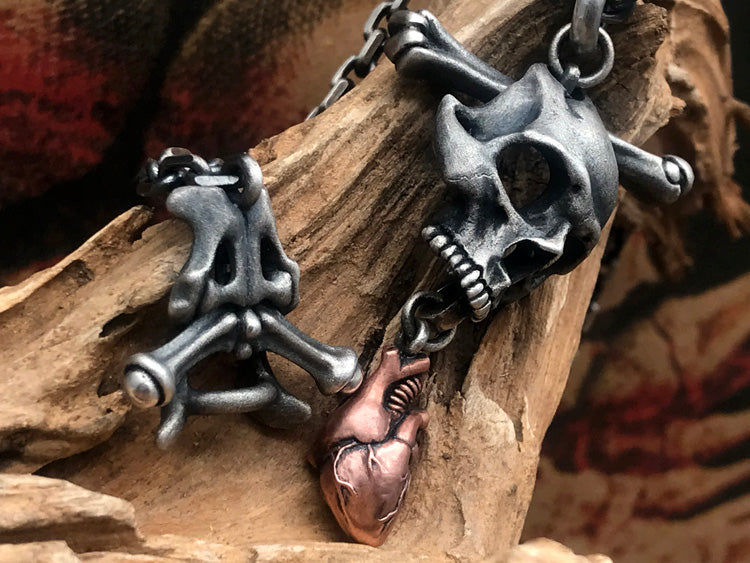 Skull Heart Bone Necklace