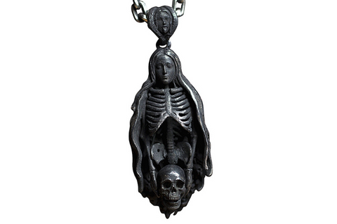 Black Ghost Skull Necklace