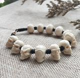 Customizable Mammoth Ivory Fossil Mystic Skull Bracelet - Holy Buyble