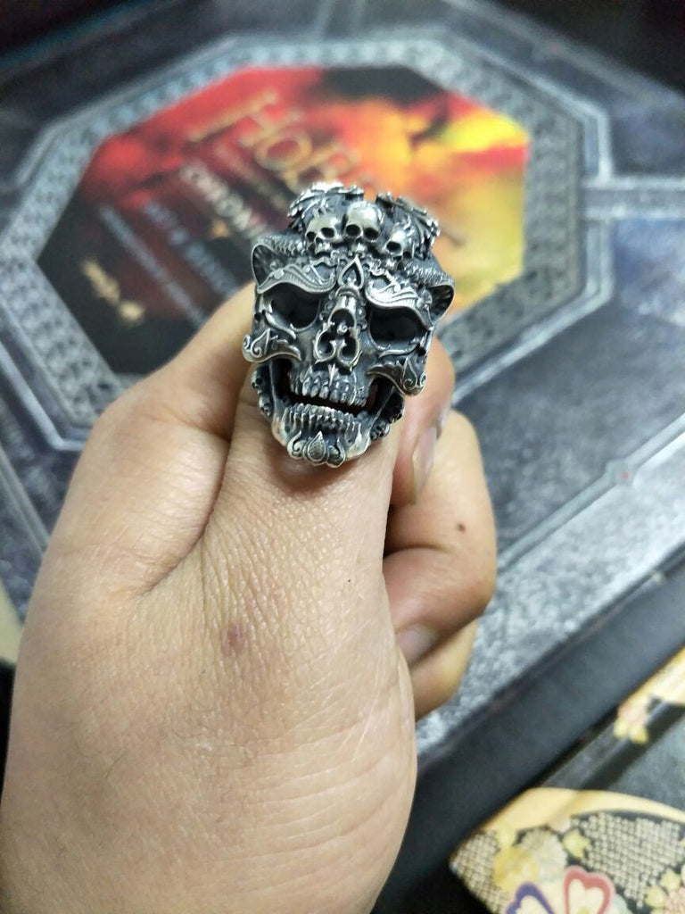 Twin Dragon Hell of Skull Ring - Holy Buyble