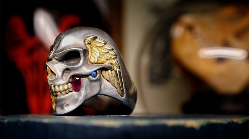 18K Gold & Gemstone Skull Ring - Holy Buyble