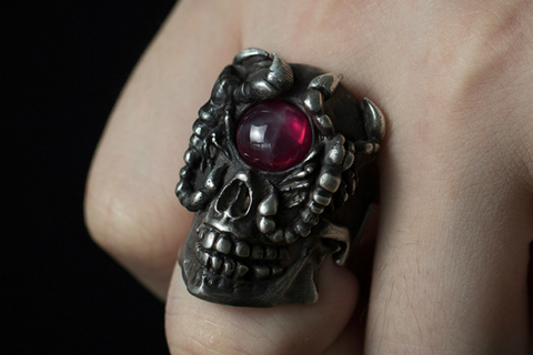 Masked Ghost Knight Skull Ring