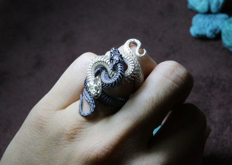 Flexible Yin Yang Snake Skeleton Ring - Holy Buyble