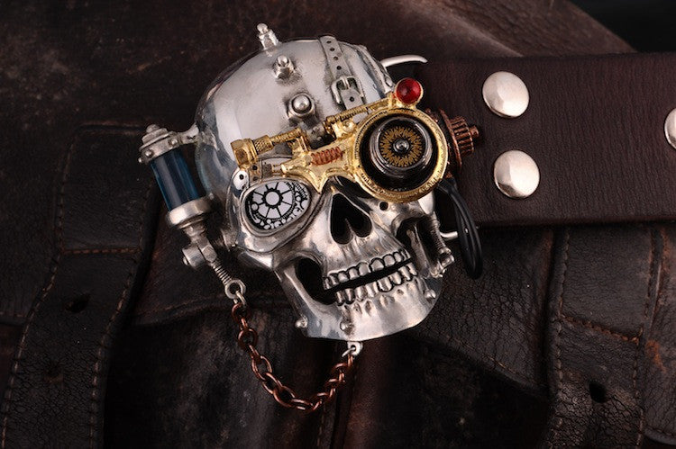 Steampunk Skull Genuine Leather Belt - Holy Buyble