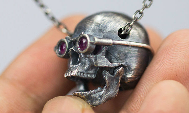 Steampunk Skull Necklace with Goggle Detail - Holy Buyble