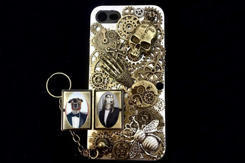 Custom Made Steampunk Skull Phone Case